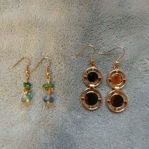 2 pair gold tone earrings